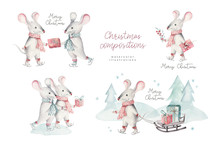 Cute Funny Cartoon Christmas Mouse Christmas Card. Watercolor Hand Drawn Rat Animal Illustration. New Year 2020 Holiday Drawing. Isolated Chinese Symbol