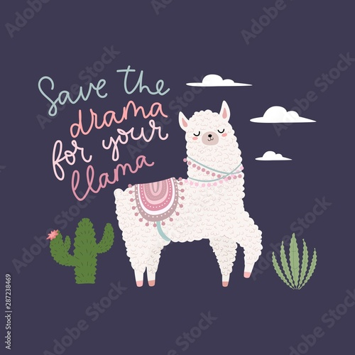 Save the drama for your llama inspirational card vector illustration Wallpaper Mural