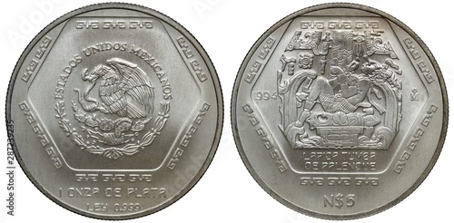 Papel de parede  Mexico Mexican silver coin 5 five pesos 1994, subject Maya civilization, eagle o