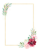 Orchid Branch Watercolor Hand Drawn Raster Frame Template