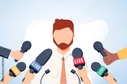 Fotografía Tv interview microphones, broadcasting male speech