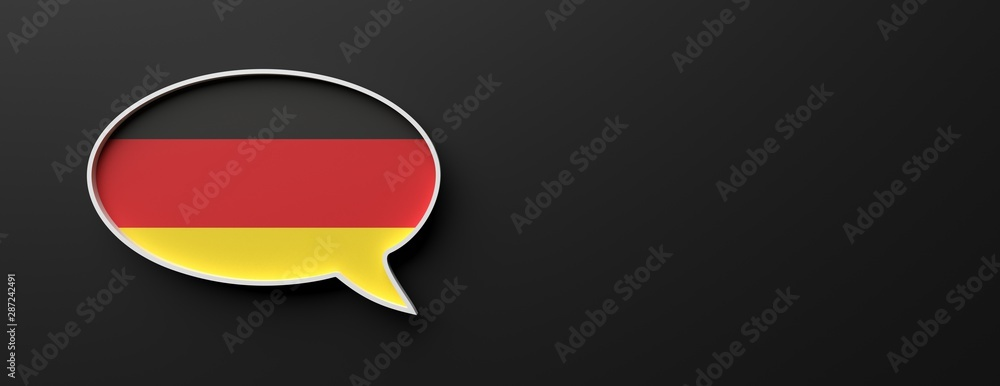 Fototapety, obrazy: Germany flag talk balloon isolated on black, banner. German language concept. 3d illustration