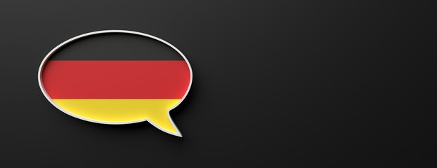 Germany flag talk balloon isolated on black, banner. German language concept. 3d illustration