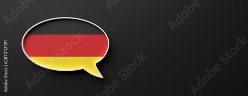 Germany flag talk balloon isolated on black, banner. German language concept. 3d illustration