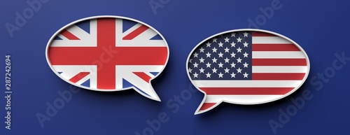 Obraz English and american flag speech bubbles against blue background, banner. 3d illustration - fototapety do salonu