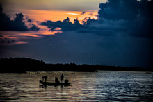 Fishing On The Lake At Sunrise