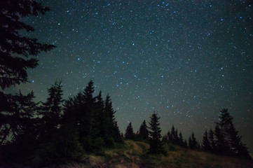 Starry sky in the mountains in summer
