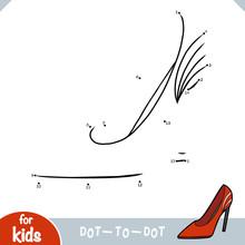 Numbers Game, Education Dot To Dot Game, Cartoon Women Shoe