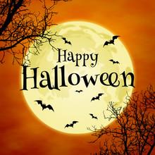 Orange-yellow Happy Halloween Background