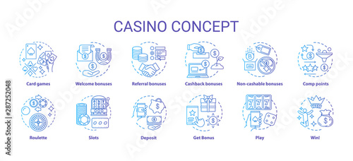 Fototapeta Casino concept icons set. Online games of chance and bonuses idea thin line illustrations. Slot machines, card games, roulette. Gambling. Vector isolated outline drawings pack obraz