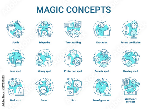 Magic concept icons set Fototapeta