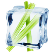 Celery In Ice Cube, Isolated O...