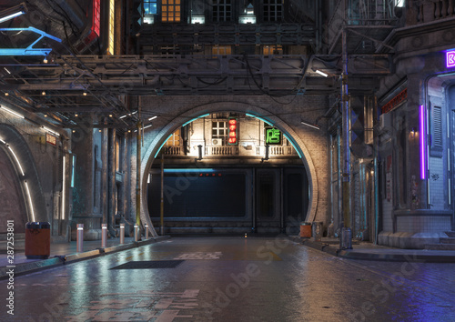 Fotografía  Urban city retro futuristic back drop background with neon accents