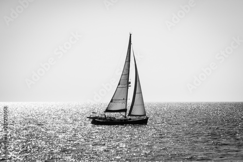 Alone yacht sailing, backlight, black and white
