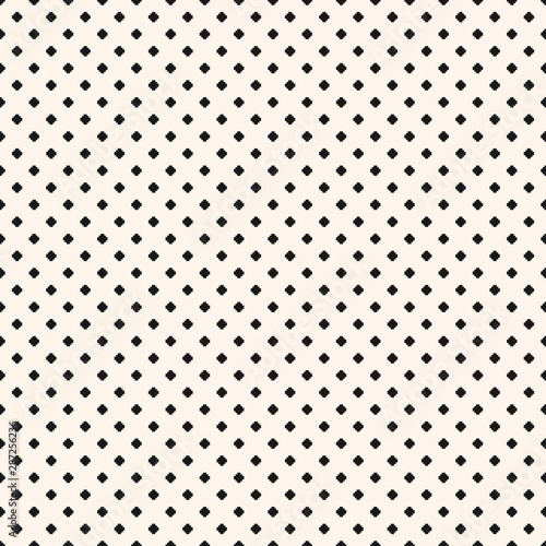 Vector minimalist floral geometric seamless pattern. Black and white texture