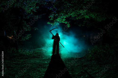 Photo  Death with a scythe in the dark misty forest