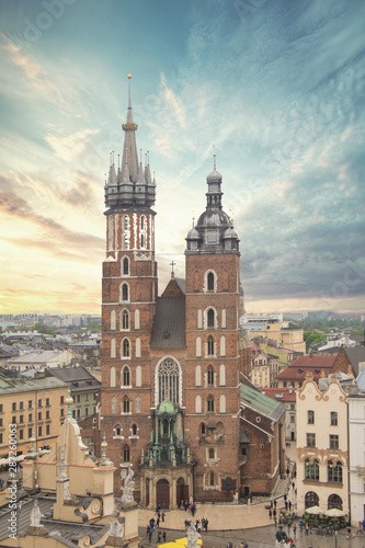 Fototapeta Beautiful view of the Church of the Assumption of the Blessed Virgin Mary (St. Mary's Church) in Krakow, Poland obraz