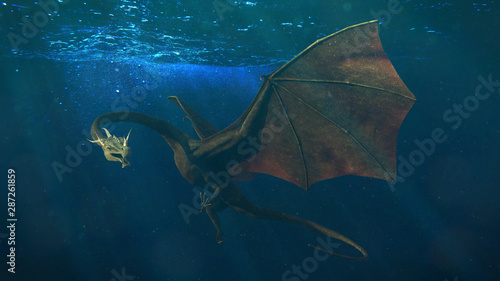 dragon, magical creature is swimming in the ocean (3d fantasy illustration) Poster Mural XXL