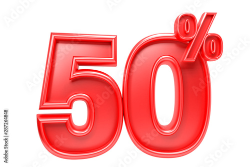 Tela  50 percent off. Isolated 3D render on white background
