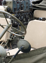 Close Up Of The Interior And Radio Equipment In A Vintage World War 2 American Vehicle