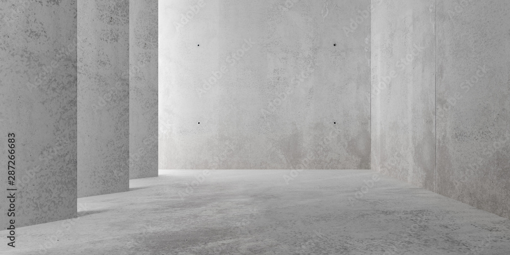 Fototapeta Abstract empty, modern concrete room with indirect lighting from side wall - industrial interior background template, 3D illustration
