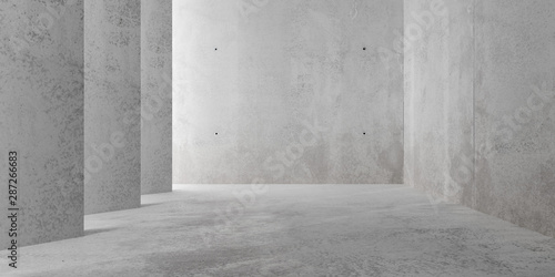 Fototapeta Abstract empty, modern concrete room with indirect lighting from side wall - industrial interior background template, 3D illustration obraz na płótnie