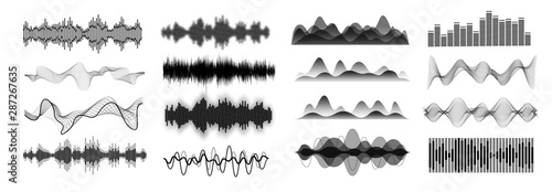 Fototapeta  Different sound waves black  isolated on white background