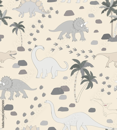 Plissee mit Motiv - Seamless repeat pattern with a monochrome neutral dinosaur scene, palms, rocks and dino tracks (von Pattern_Talent)