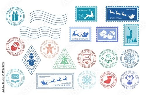 Fotomural  Merry Christmas stamp