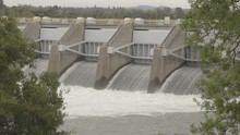 Nimbus Dam American River Water Release Folsom California (foreground Trees Tight Shot, Flat, Ungraded, Broadcast Safe)