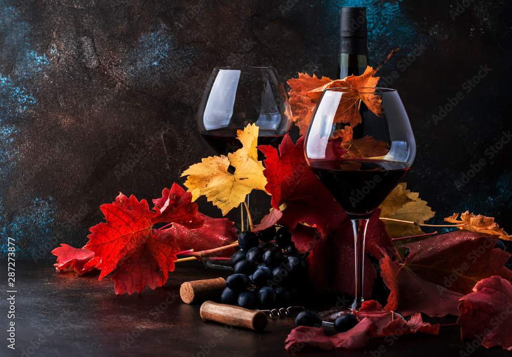 Fototapety, obrazy: Dry Red Wine in big wine glass, autumn still life with leaves, wine tasting concept, rustic style, selective focus