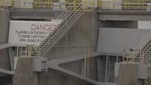 Nimbus Dam American River Water Release Folsom California (birds On Dam Shot, Flat, Ungraded, Broadcast Safe)