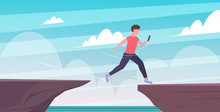 Man Using Smartphone Jumping Over Cliff Gap Risk Danger Digital Addiction Concept Flat Full Length Horizontal