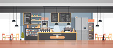 Modern Cafe Interior Empty No People Restaurant Cafeteria Design Flat Horizontal