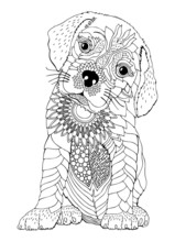 Baby Bull Mastiff, Puppy. Hand Drawn Dog. Sketch For Anti-stress Adult Coloring Book In Zen-tangle Style. Vector Illustration  For Coloring Page.