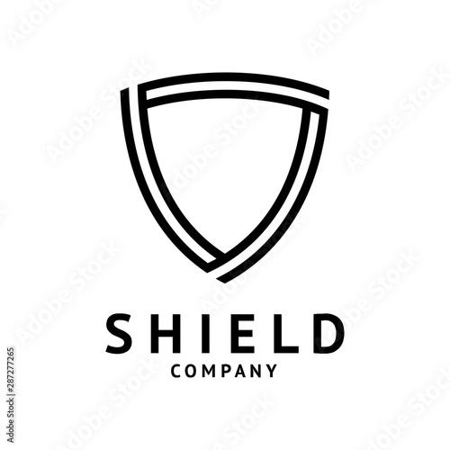 Fotografija shield logo template ready for use, shielding icon in black and white color, sec