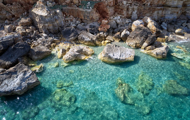 Aerial view of mediterranean sea coast near Geropotamos beach with transparent water. Crete, Greece