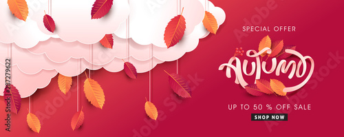 Fototapeta Autumn leaves background. Seasonal lettering.vector illustration.Promotion sale banner of autumn season. obraz