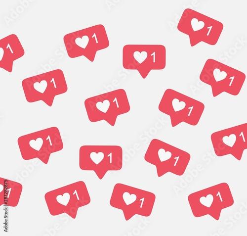 Obraz Notification instagram like background vector pattern - fototapety do salonu