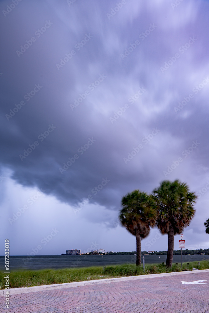 Fototapety, obrazy: Overcast from Hurricane Dorian in Miami FL USA September 2019