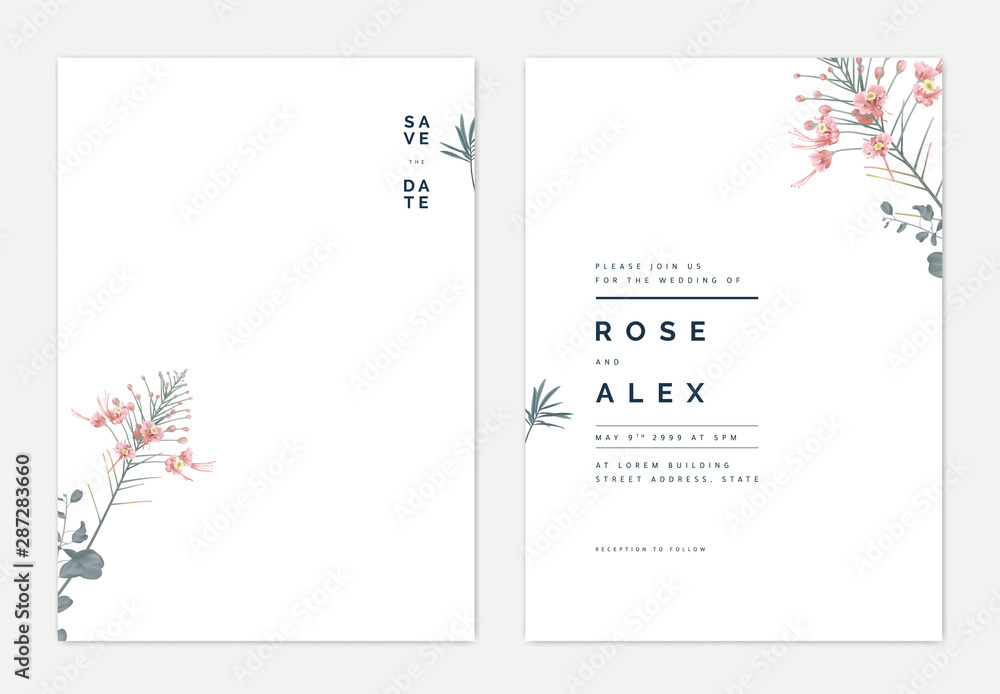 Fototapeta Minimalist botanical wedding invitation card template design, pink peacock and leaves on white