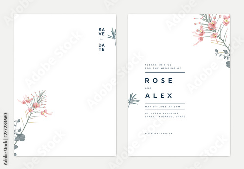 Minimalist botanical wedding invitation card template design, pink peacock and l Fototapete