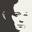 Face front view. Elegant silhouette of a female head.