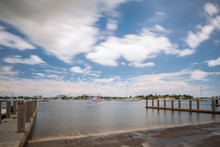 Photo Of A Boat Ramp In Miami. Long Exposure Creating Motion Blur In Sky