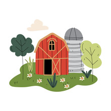 Red Wooden Barn And Silo Tower, Farm Buildings, Rural Landscape Vector Illustration