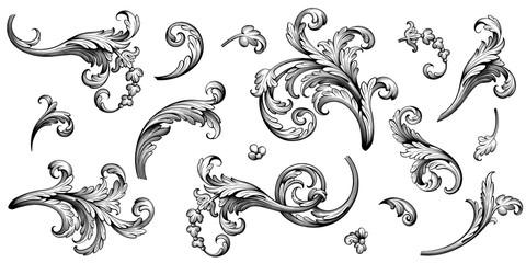 Vintage Baroque Victorian frame border flower pattern vector floral engraved scroll ornament leaf retro decorative design tattoo black and white filigree calligraphic heraldic shield swirl
