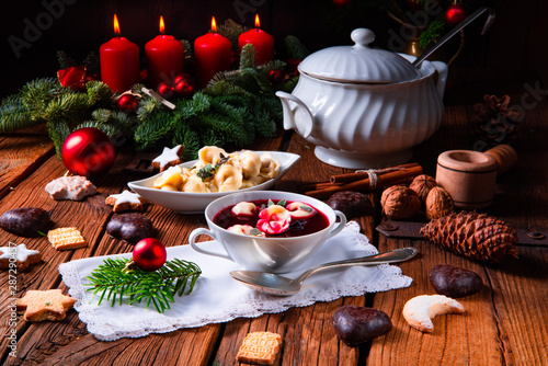 Fototapeta traditional Polish Christmas Eve borscht with dumplings