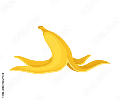 Peel from a banana. Vector illustration on a white background. Wallpaper Mural