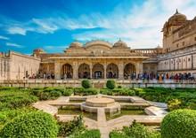 Inner Gardens Of The Amber Fort At Amer Near Jaipur, Rajasthan, India