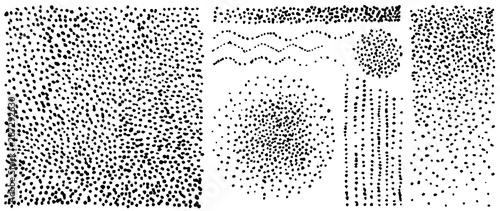 Obraz Noise halftone textures set. Speckled grunge grain backgrounds. Gradient mezzotint backdrop. Vector rough pattern. - fototapety do salonu